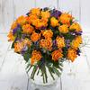 Букет из 25 оранжевых роз и статицы фото