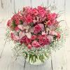 Букет из розовых роз и орхидей фото
