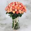 Букет из 51 кремово-коралловой розы 60 см. фото