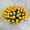 101 желтая роза 40 см. в корзине фото