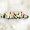 Настольная композиция из роз, гвоздики и альстромерии фото