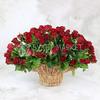 Купить со скидкой 101 красная роза в корзине