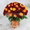 101 желтая и красная кенийская роза 40см фото