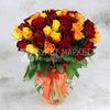 Букет из 51 желтой и красной розы 40 см. фото