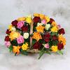 51 разноцветная роза 40 см. в корзине фото