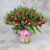 Букет из 101 красно-белого тюльпана фото