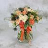 Букет из белых и персиковых роз с эрингиумом фото