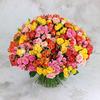 Букет из 101 разноцветной кустовой розы фото