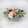 Композиция из роз, гвоздики и гортензии фото