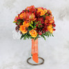 Букет невесты из оранжевых роз, фрезий и альстромерий фото