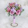 Букет невесты из сиреневой фрезии, роз и альстромерии фото