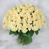 Букет из 101 лимонно-кремовой розы фото