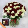 101 красная и белая роза 60 см + подарок фото
