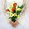 Букет невесты из калл с рускусом и аспидистрой фото