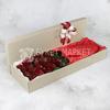 Букет из 25 красных роз в коробке фото