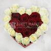 25 белых и красных роз в сердце фото
