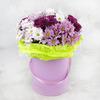 15 разноцветных кустовых хризантем в шляпной коробке фото