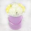 9 хризантем в шляпной коробке фото