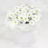 15 белых кустовых хризантем в шляпной коробке фото