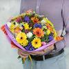 Авторский букет из гербер, тюльпанов и роз фото
