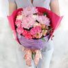 Стильный букет из хризантем, гвоздик и роз фото