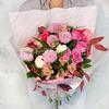 Оригинальный букет из хризантем, гвоздик, альстромерий и роз фото