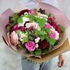 ВИП букет из роз, георгин и гвоздик фото
