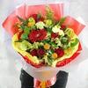 Купить со скидкой Яркий букет из роз, альстромерий и герберы