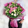 Бизнес букет из альстромерий, роз и лизиантусов фото