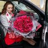 Букет из 31 малиновых роз Клустер фото
