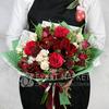 Букет из роз, тюльпанов и амариллисов с хлопком фото