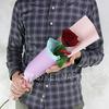 Алая роза с декоративными сердечками в упаковке фото