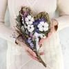 Композиция из сухоцветов в виде сердца из лаванды, хлопка, капсов и лагуруса фото