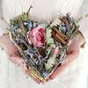Композиция из сухоцветов корица, лаванда, гортензия в форме сердца фото