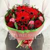 Букет из гербер, роз и альстромерий с листьями фисташки фото