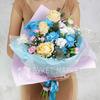 Букет из хризантем, роз, хлопка, гвоздик фото