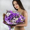 Букет из хризантем, лаванды и пшеницы фото