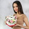 Композиция котик из хризантем и роз в сердце фото