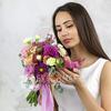 Букет невесты из георгин, роз, гвоздик и ранункулюса фото