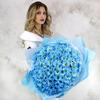 Букет из 35 голубых хризантем фото