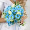 Букет невесты из хризантемы, роз и альстромерий фото