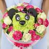 Композиция панда из роз, гвоздик и фисташки фото