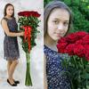 Букет из 25 красных длинных роз фото