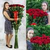Букет из 31 красных длинных роз фото