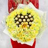 Букет из 51 желтых роз с конфетами фото