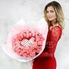 51 розовая роза с киндер шоколадом фото