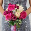 Букет из роз, мяты и хедеры фото