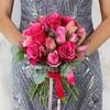 Букет из роз, эрики и эвкалипта фото