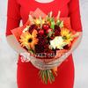 Букет из гербер, роз и альстромерий с пшеницей фото