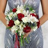 Букет из роз, альстромерий, лизиантусов и эрингиума фото